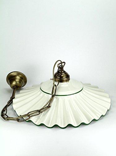 Lampadario ottone brunito sospensione a catenella,piatto in ceramica con bordo dipinto di colore verde a 1 luce l1049 Dimensioni max: Altezza 74cm,diametro vetro 37cm.Le dimensioni sono comprensive del piatto.Attacco Edison E 27(Attacco grande).