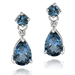 Sterling Silver 3.6ct London Blue Topaz & Diamond Accent Teardrop Earrings