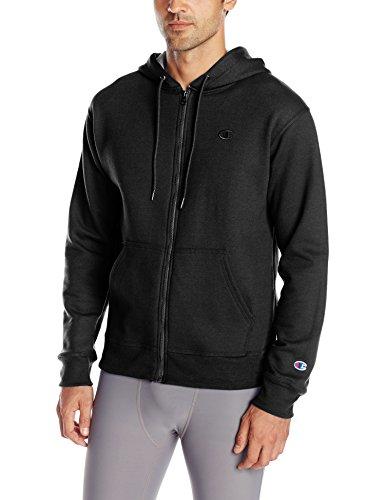 Champion Men's Powerblend Full Zip Hoodie, Black, X-Large