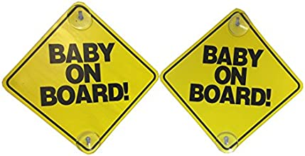 Baby on Board - 2 Pack - Large 6quot x 6quot Yellow Car Signs with 2 Attached Suction Cups
