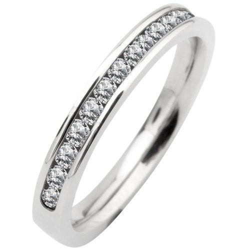 Size 8 - Inox Jewelry 316L Stainless Steel Women's Half Eternity cz Band Ring