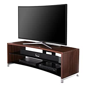 fitueyes curved wooden glass tv stand for upto 55 inch flant panel and curved oled. Black Bedroom Furniture Sets. Home Design Ideas