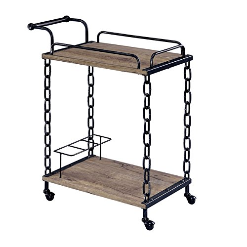 Furniture of America Porteno Industrial Chain Link Serving Cart 1
