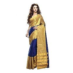 Lemoda Designer Blue & Golden Zari Border Cotton Blend Saree MMUKE65546074130-70000051