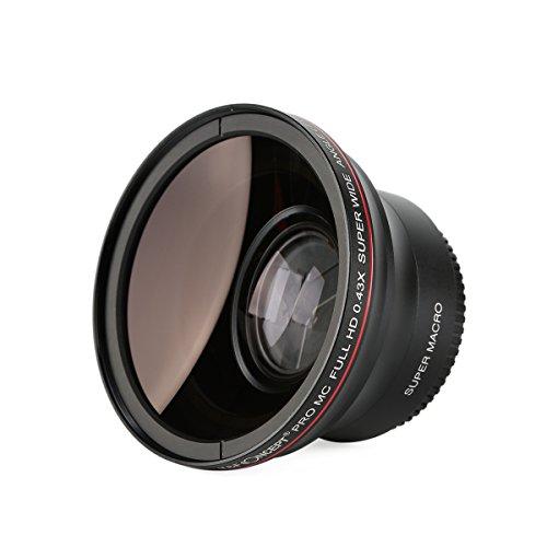 K&F Concept® 52mm Super Weitwinkelkonverter 0.43x Professionell HD Weitwinkel Objektiv Vorsatz mit Makrolinse Kamera Zubehör Weitwinkel Vorsatz für Canon Rebel T5i T3i XTi XS T4i T2i XT SL1 T3 T1i XSi EOS 1000D 600D 450D 100D 650D 700D 550D 400D 500D 300D 1100D and Nikon D7100 D5100 D3100 D300 D90 D70s D40x D3X D7000 D5000 D3000 D300S D80 D60 D3 D5200 D3200 D700 D200 D70 D40 D3S