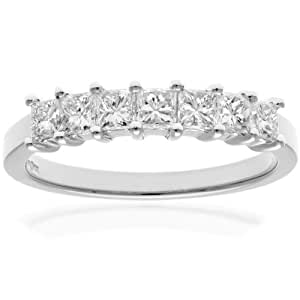 Naava 18ct White Gold Eternity Ring, J/I Certified Diamonds, Princess Cut, 0.75ct