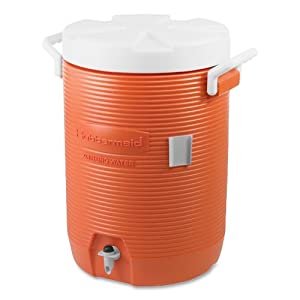 RUBBERMAID Insulated Beverage Container/Water Cooler, Orange, 5-Gallon (Case of 2)