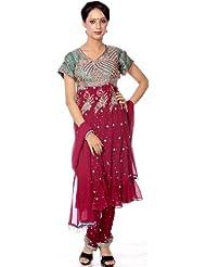 Exotic India Purple Anarkali Suit With Heavy Beadwork On Kameez - Purple