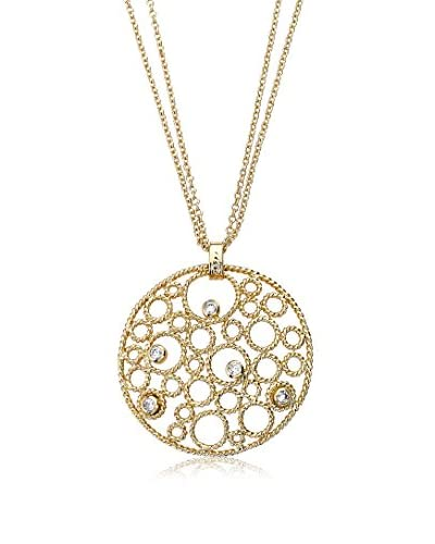 Riccova Retro CZ Bubbles Medallion on a Double Strand Necklace, Gold