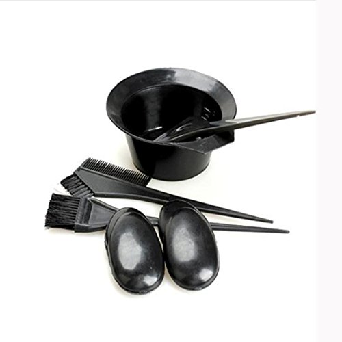 5pcs 1 Set Black Plastic Dyeing Bowl KESEE (Bowl Hair Dryer compare prices)