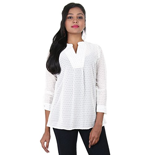 eSTYLe-Pristine-White-With-Black-Dot-Prints-Polyster-Modern-Top-For-Women