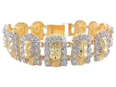 14k Two-Tone Real Gold White CZ High Polish Religious Face of Jesus Bracelet
