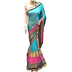Blue and pink Designer lycra With Embroidered lehenga Saree.