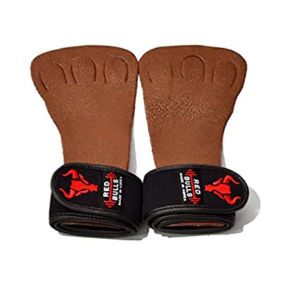 Red Bulls Leather 3 Finger Wrist Wrap Weightlifting gloves Power lifting Health Weight Workout Griper Fitness Gym Body
