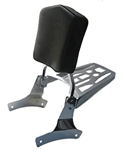 "Honda '97-up Shadow Ace 750 Sissy Bar, Backrest Pad & 9"" X 6"" Luggage Rack Combo by Cavalry"