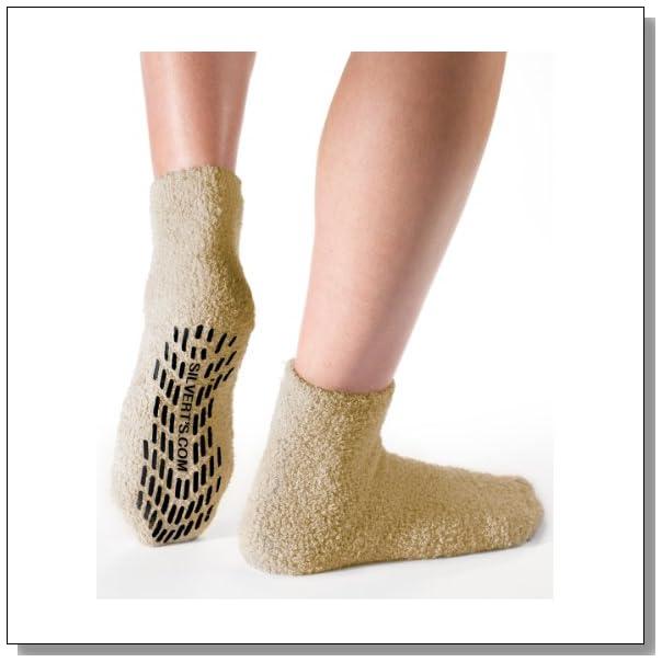 Non Skid/Slip Socks - Hospital Socks - Slipper Socks for Women and Men - Beige (One Size)