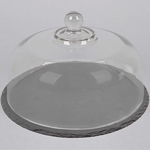 Anchor Hocking Round Slate Platter w/Glass Cake Dome - Large (Glass Pastry Display compare prices)