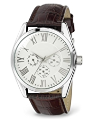 Round Face 3 Eye Leather Strap Watch