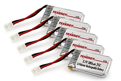 Combo: 5pcs of Tenergy 3.7V 380mAh LiPO Battery for Hubsan X4 (H107C, H107D, H107L) 4 Channel 2.4GHz RC QuadCopter