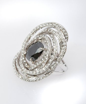 Bold and Beautiful Round Fashion Ring Black Color, Size 9