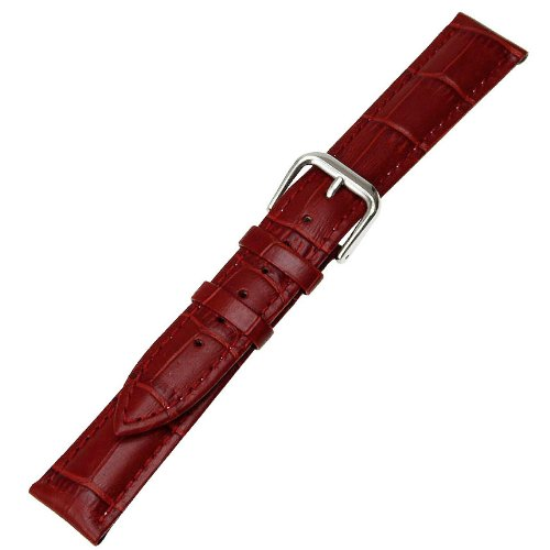 Ritche Generic 20mm Alligator Grain Leather Watch Band Strap Color Red