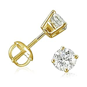 1/2ct Diamond Stud Earrings set in 14K Yellow Gold with Screw-Backs from Amanda Rose Collection