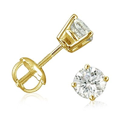 1/2ct Diamond Stud Earrings set in 14K Yellow