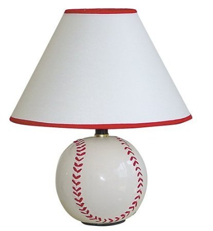 """12""""H Table Lamp With Ceramic Baseball Base In White Finish front-479239"""
