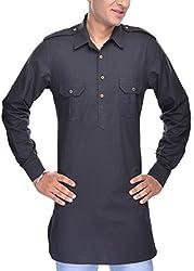 Padam Men's Pathani Kurta_PMKR0018_Black_S