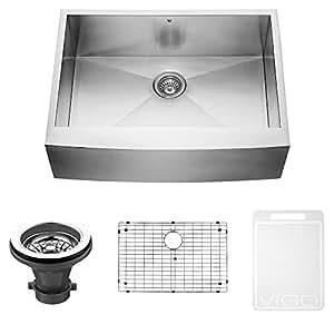 VIGO VG3020CK1 30-inch Farmhouse Stainless Steel Kitchen Sink, Grid and Strainer