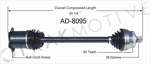 SurTrack AD-8095 CV Axle Shaft opparts 8010n cv axle shaft