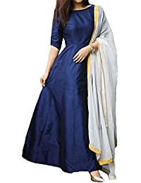Purva Art Womens Western Navy Blue Tapeta Silk Stitched Long Gown With Dupatta For Girls (PA_2401_Navy Blue_Tapeta_Stitched_JFW...