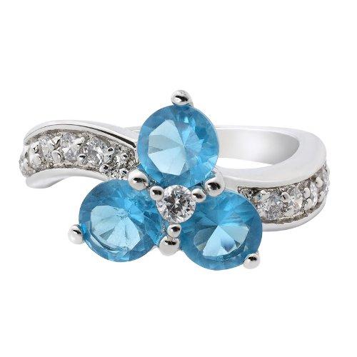 Rizilia Engagement! Fashion Jewelry Round 18K White Gold Plated Aquamarine Lady Ring 7
