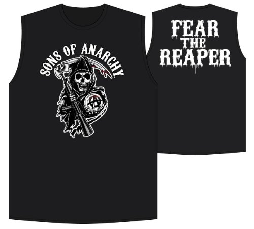 Sons of Anarchy Fear the Reaper FTR Men's Licensed Black Sleeveless T-Shirt Tank Top (XXL)