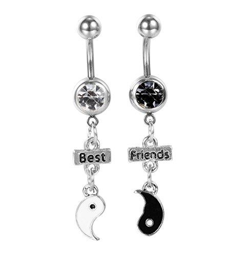 Set Yin Yang sign Dangle Belly Rings 14G - YinYang symbols Piercing