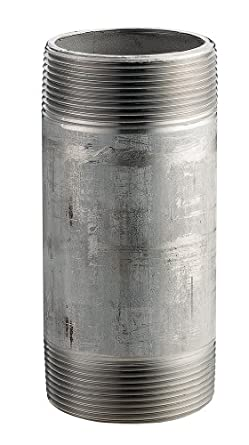 "Merit Brass 6032-1200 2"" X 12"" NPT Male, Schedule 40 Welded, 316/316L Type Stainless Steel Pipe Nipple"