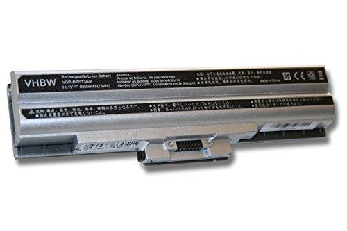 vhbw Li-Ion Batterie 6600mAh (11.1V) argent pour ordinateur portable, Notebook Sony Vaio VGN-AW31S/B, VGN-AW31XY/Q comme VGP-BPL13.
