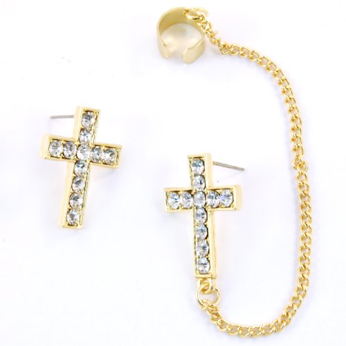 Crystal Cross Ear Cuff Earrings (Gold)