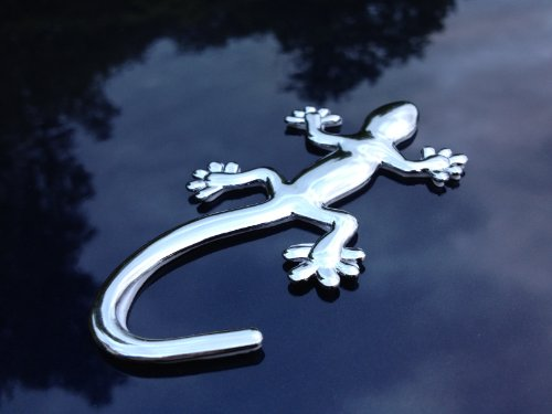 Gecko Lizard Car Badge Emblem - 3D Chrome Look Plastic - Self-Adhesive