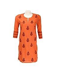 Go Lucknow Women Cotton Mangalgiri Chikankari Orange Kurti