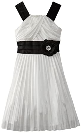 My Michelle Big Girls' Pleated Dress, Ivory, 12