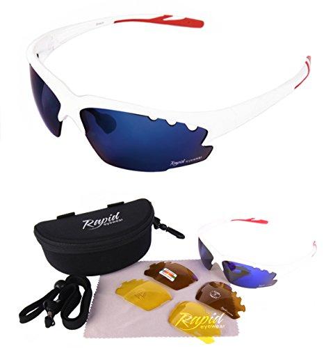 Breeze weiß / blau Verspiegelt SPORTBRILLEN - Wechselgläser – ideale Radbrille, Tennisbrille, Segeln brille, Triathlon brille usw. UV schutz 400. Für Herren und Damen