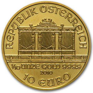 2010 Austrian Philharmonics 1/10 Once Gold Coin