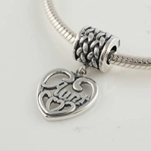 Aunt Heart Dangle Charm 925 Sterling Silver Charm Beads for Pandora, Biagi, Chamilia, Troll and More Bracelets