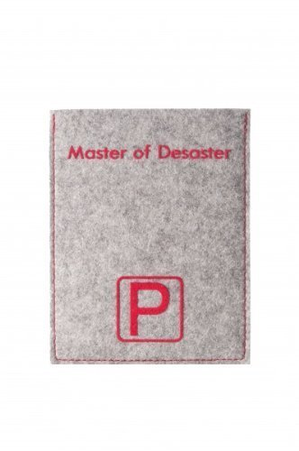 Stile vita Ottica Disco di parcheggio da molto alta qualità 100 % Feltro lana con pressione/Citazione/motivo: Master of Desaster grigio argento/rosso con interiormente originale Disco di parcheggio