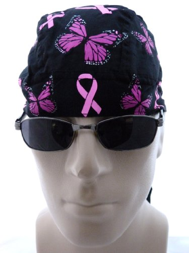 Breast Cancer Awareness Pink Ribbon with Butterflies, Ladies Womens Bikers Cap/Skull Cap/ Medical Cap/ Doo Du Rag, One Size Fits Most Men and Women