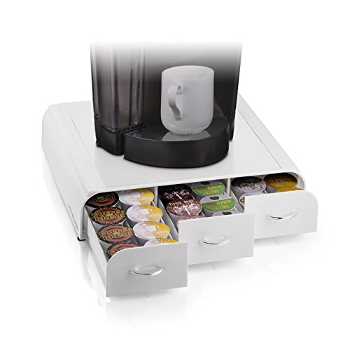 Mind Reader 'Anchor' Triple Drawer single serve coffee pod holder, White (Coffee Keurig Storage compare prices)