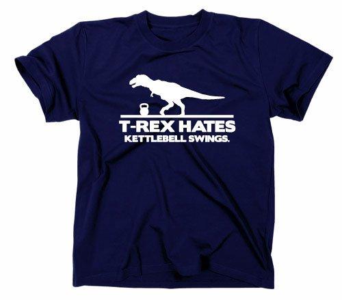 T Rex Hates Kettlebell Swings Fun Maglietta, Unisex adulto, blu navy, L