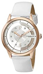 Stuhrling Original Women's 946L.02 Winchester 16k Rose Gold-Layered Swarovski Crystal-Accented Watch with White Leather Band