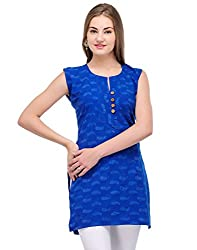 Kiosha Cotton Blue Sleeveless Kurti for women